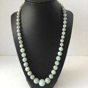 """A"" jade bluish grey graduated beaded 22"" necklace"